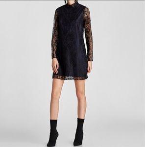 Zara black lace mini dress navy blue underlay S